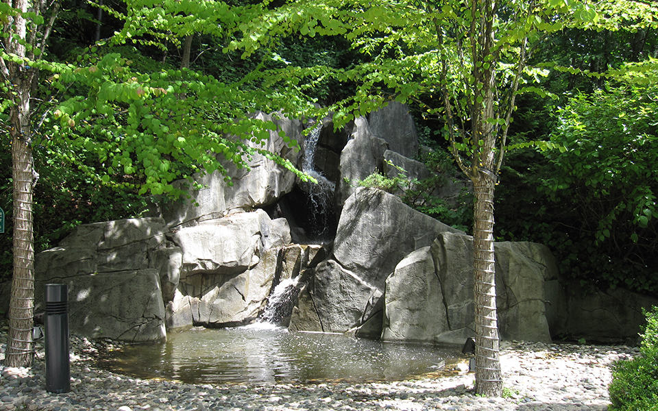 Community water feature with waterfall and concrete rock work