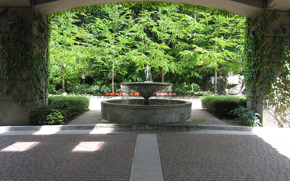 Courtyard water fountain in hotel