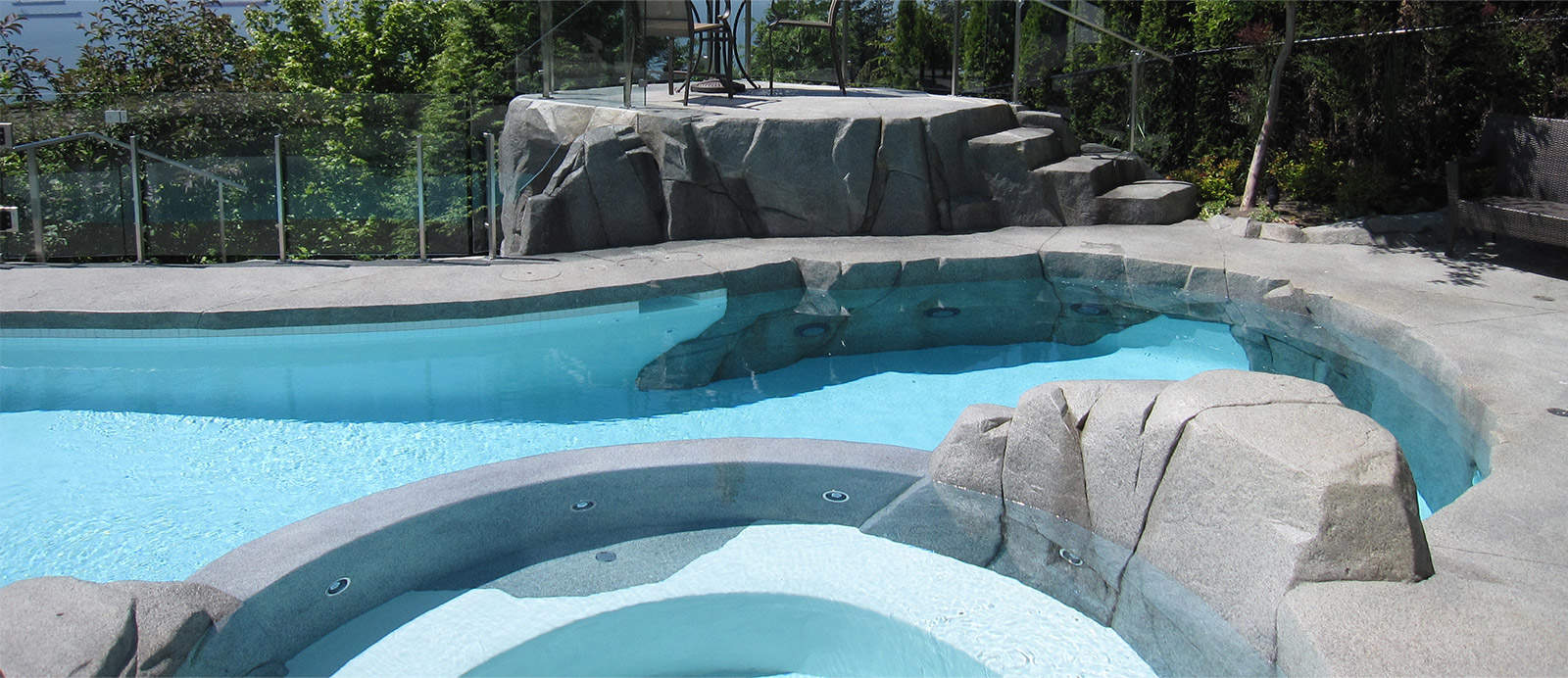 Backyard renovation with hot tub and swimming pool and private patio