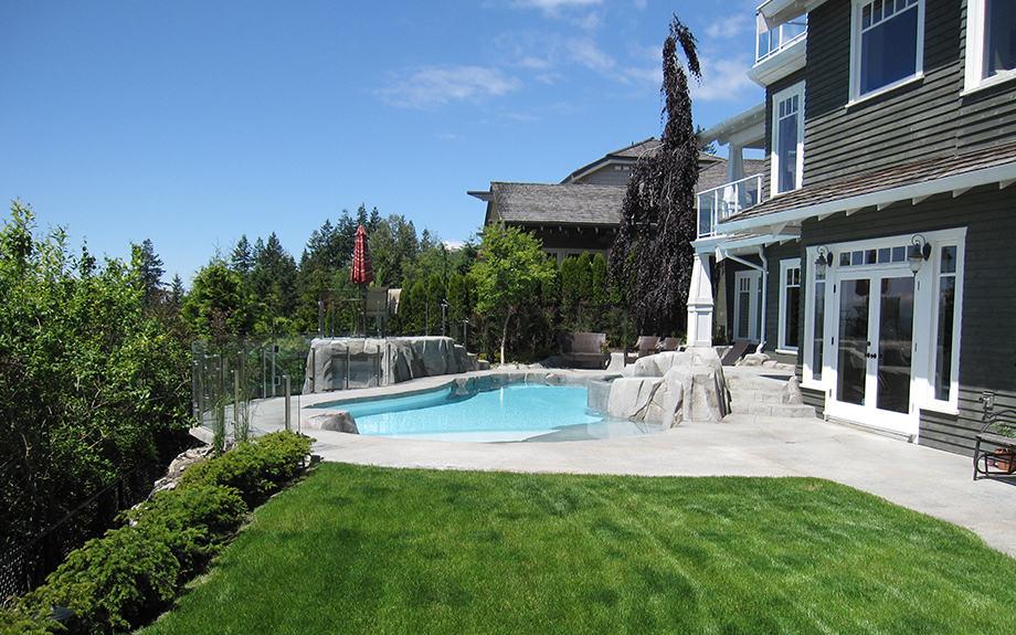 Backyard renovation with swimming pool and hot tub