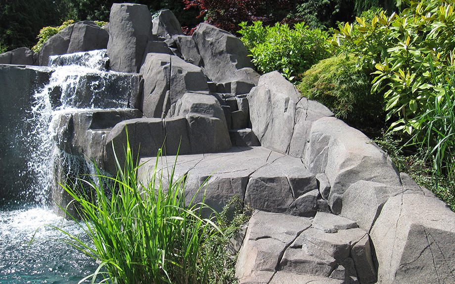 Concrete rock work and waterfall