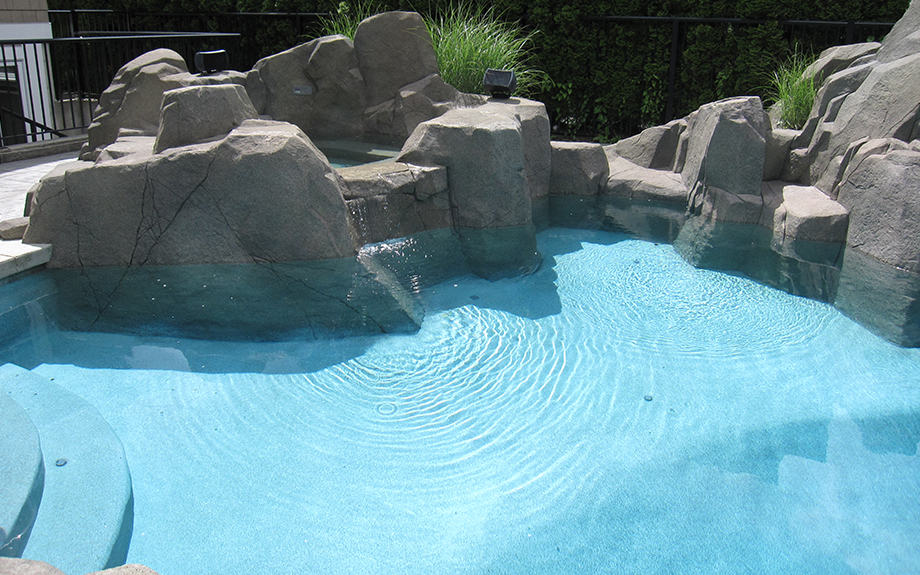 Custom rock work and swimming pool