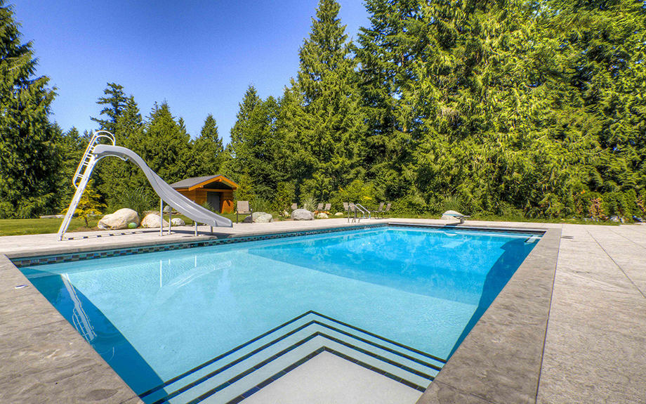 Luxury in ground swimming pool with slide