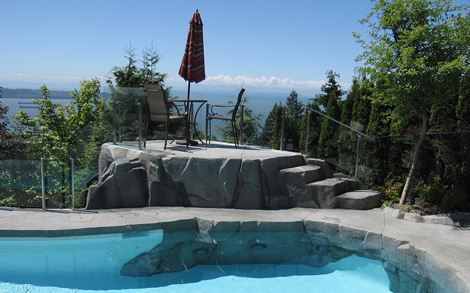 Backyard private lookout with custom swimming pool