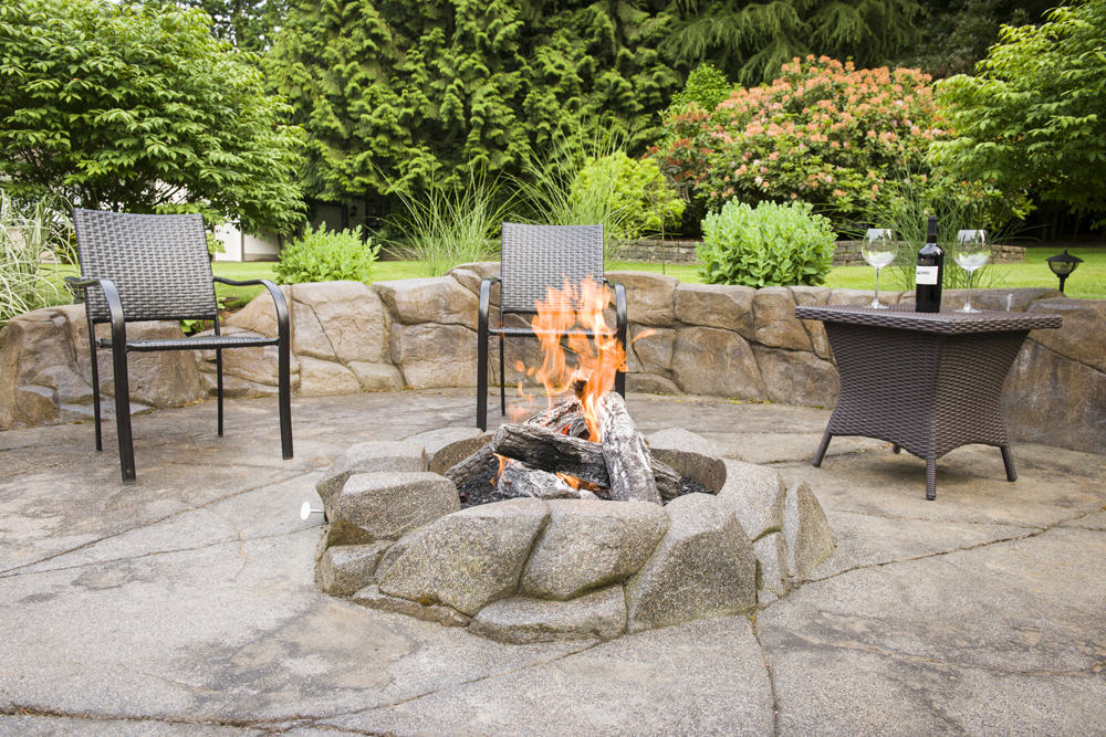 Backyard patio with custom fire pit