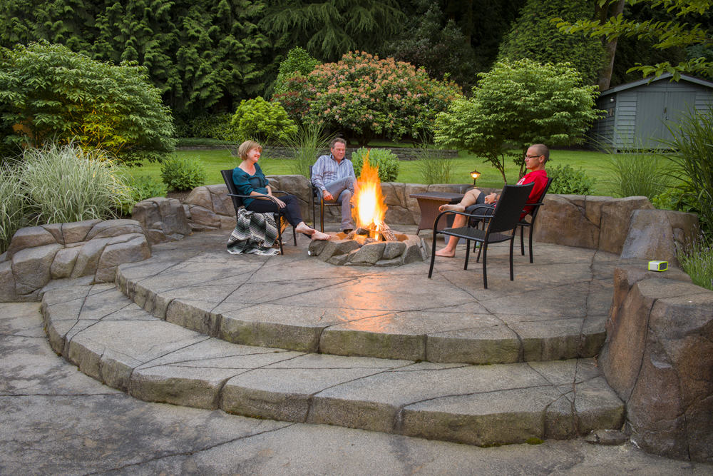 Unique custom patio with fire pit