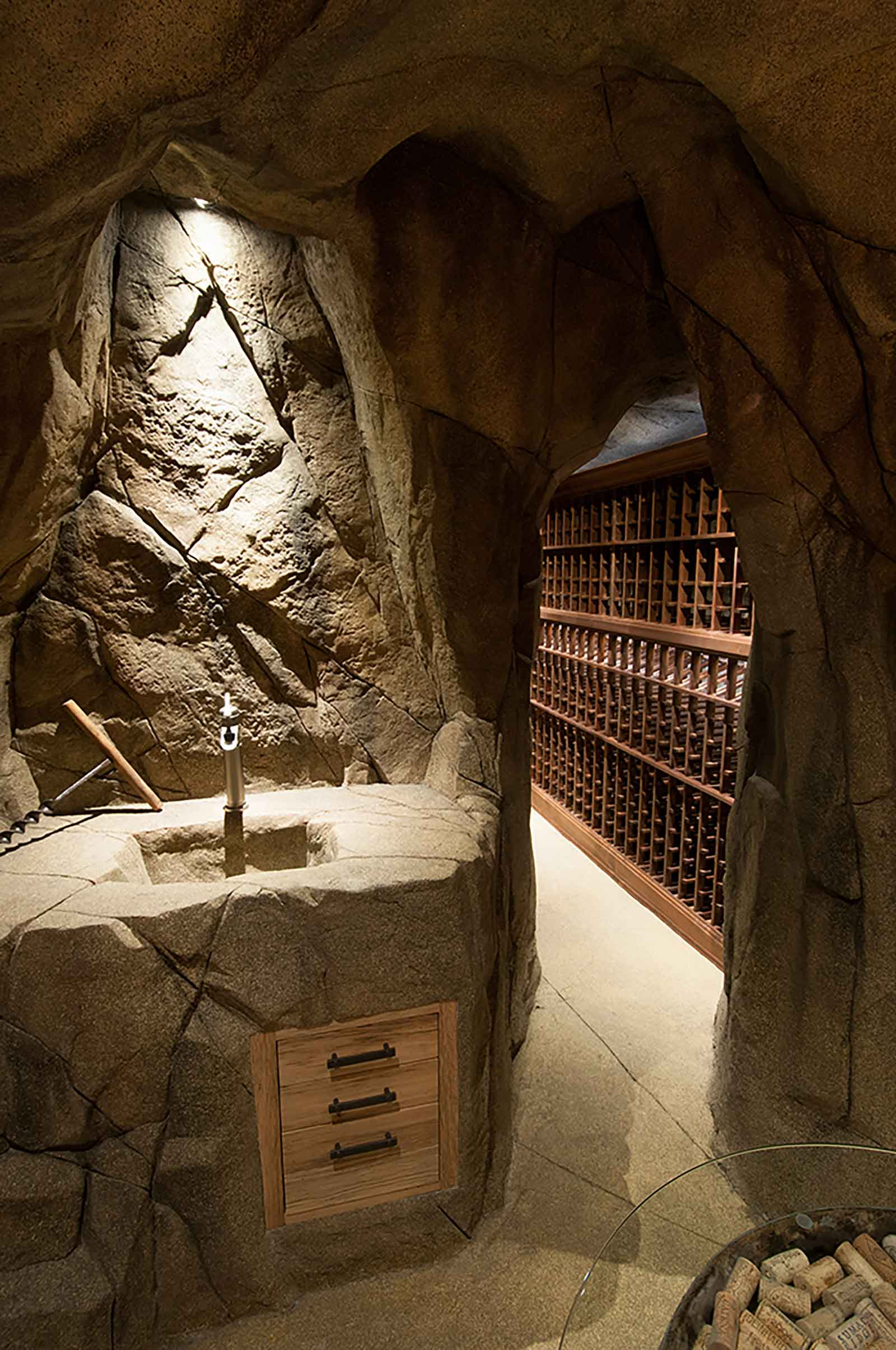 Authentic custom built wine cave
