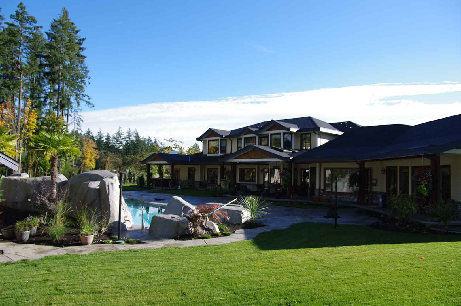 Backyard design with pool and patio