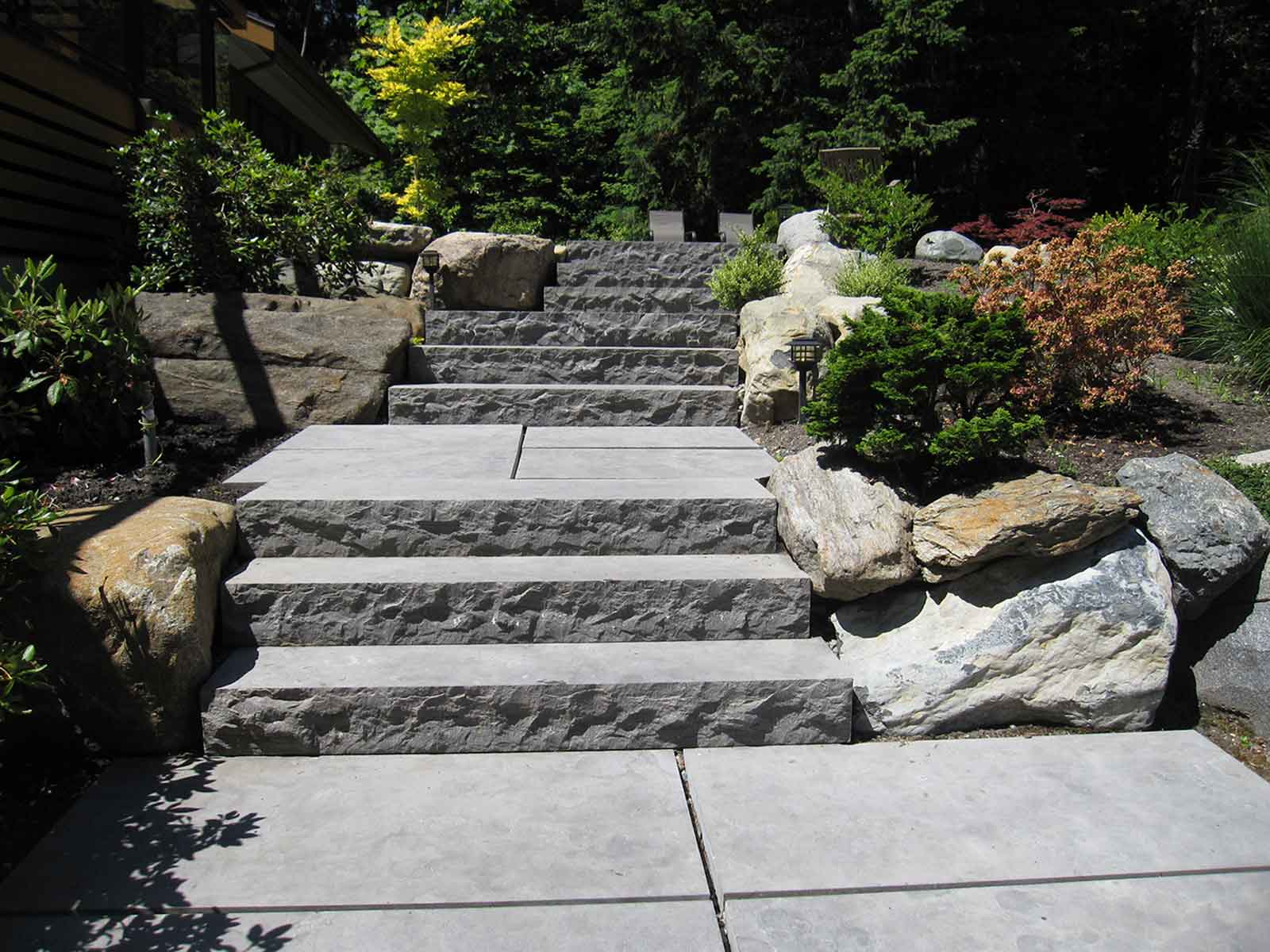 Renovated backyard with concrete stairs