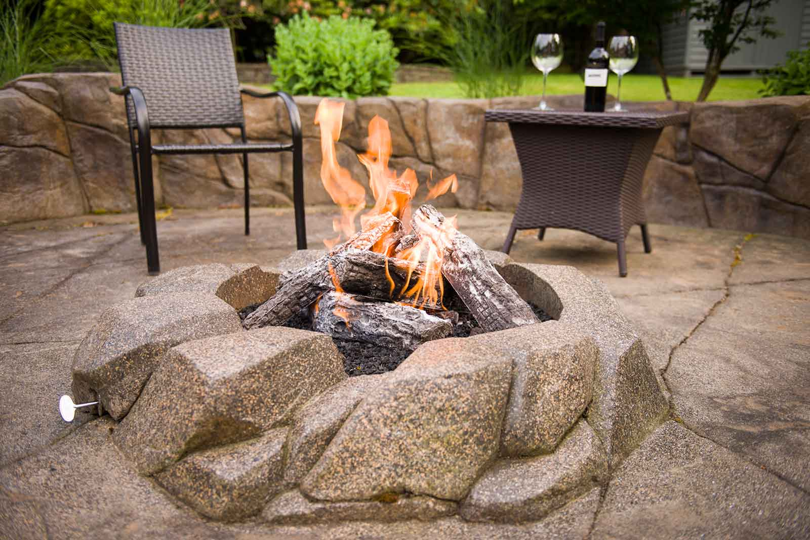 Concrete surround fire pit