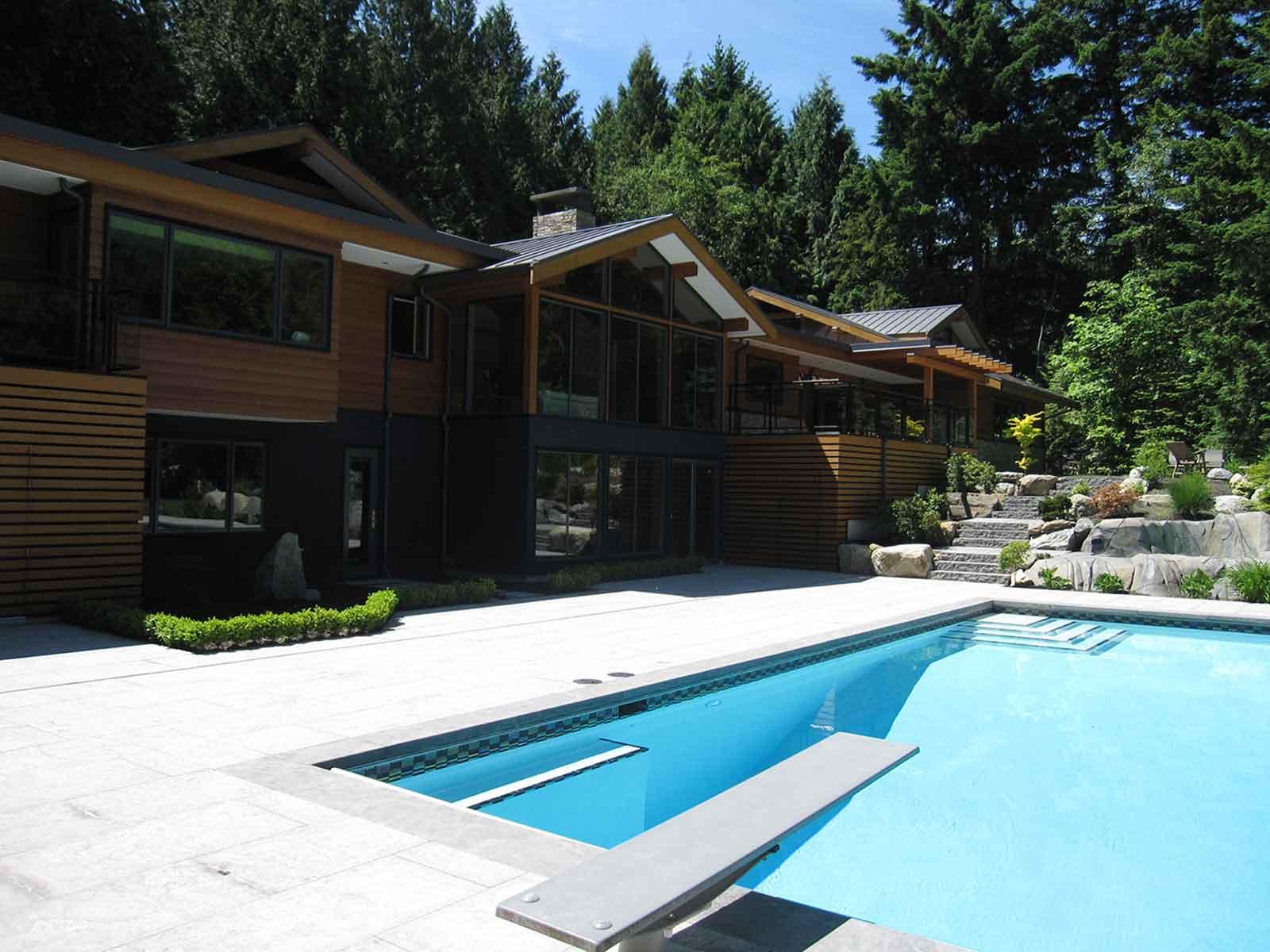 Custom designed backyard inground swimming pool
