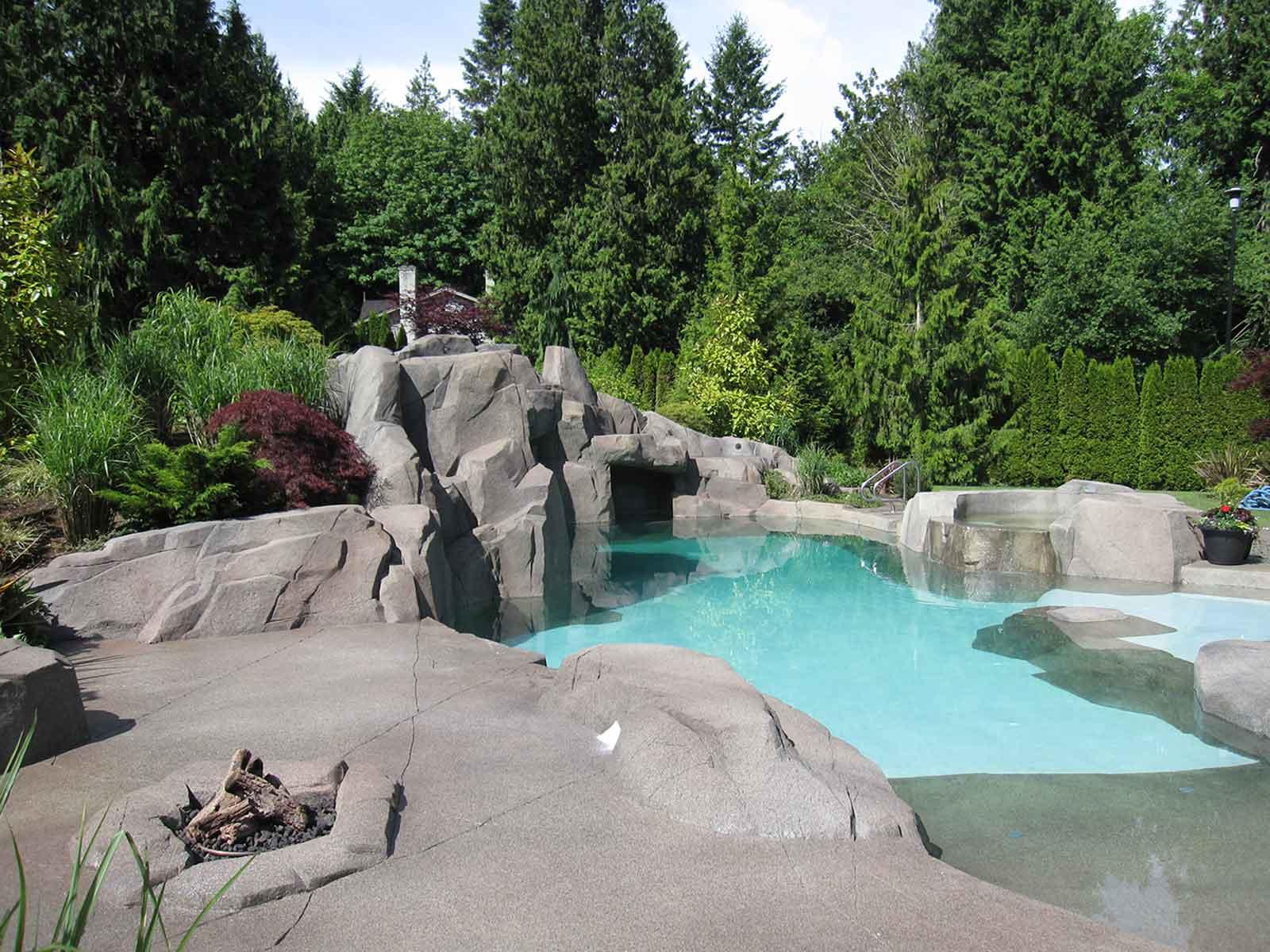 Custom designed rock work and swimming pool