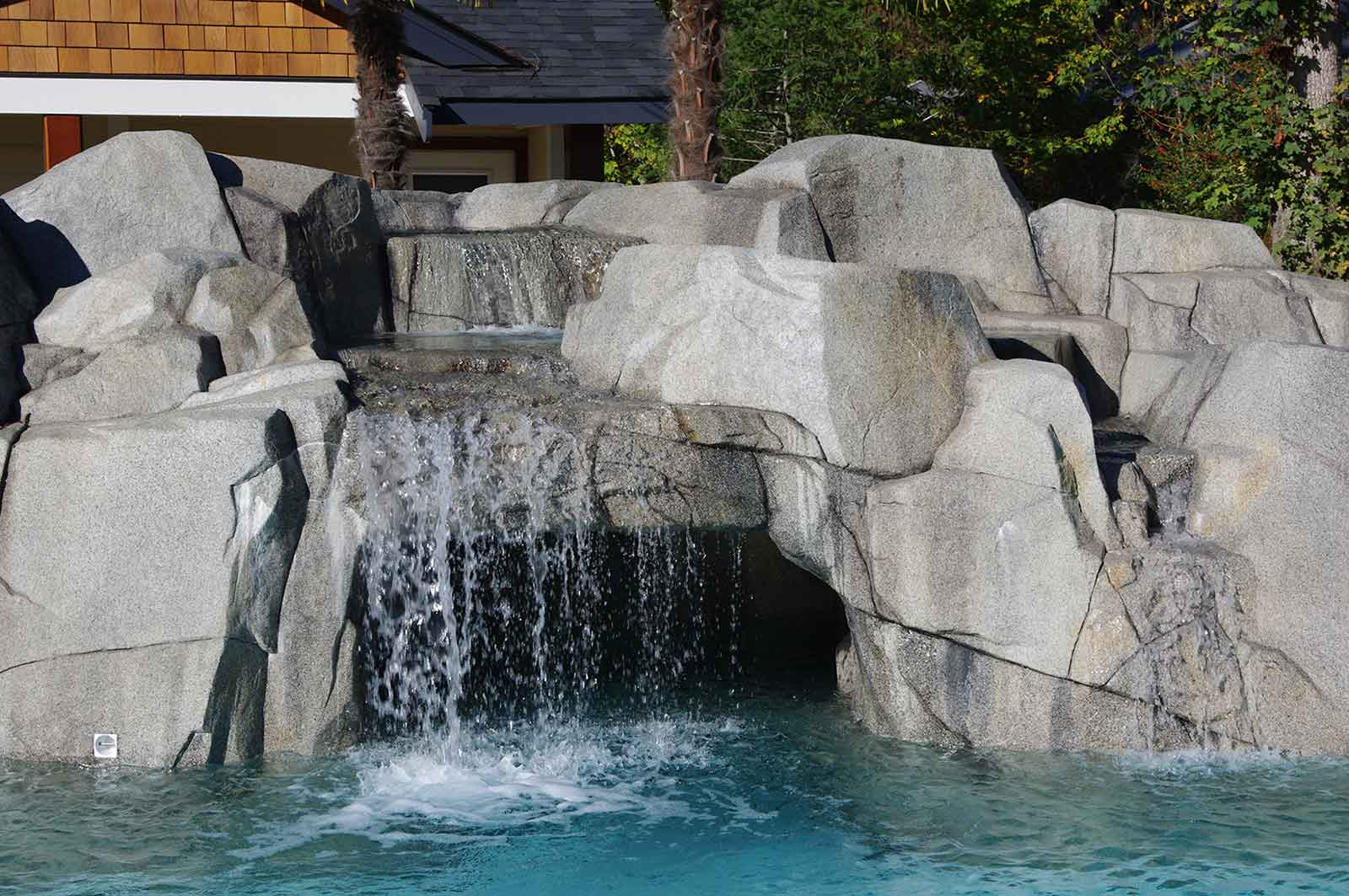 Custom swimming pool waterfall
