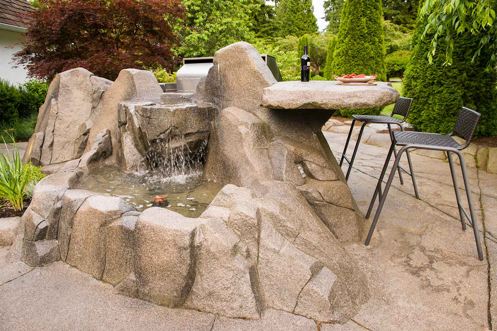 Artificial rock work water fall and fountain