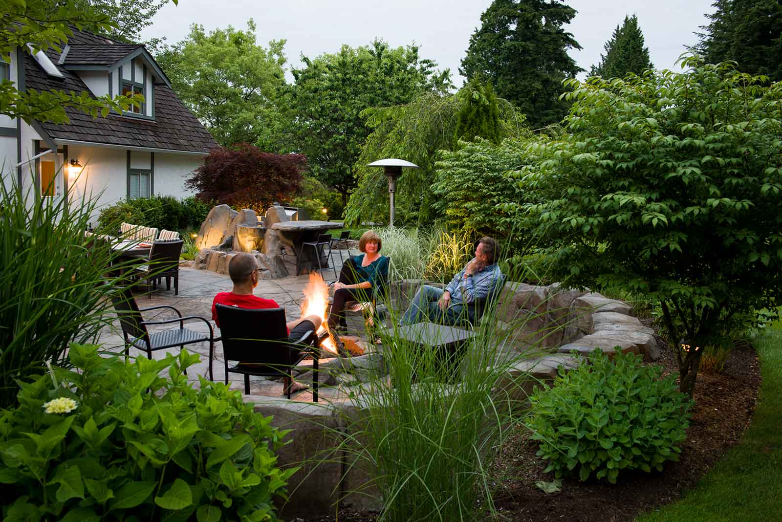 Backyard entertaining with fire pit party
