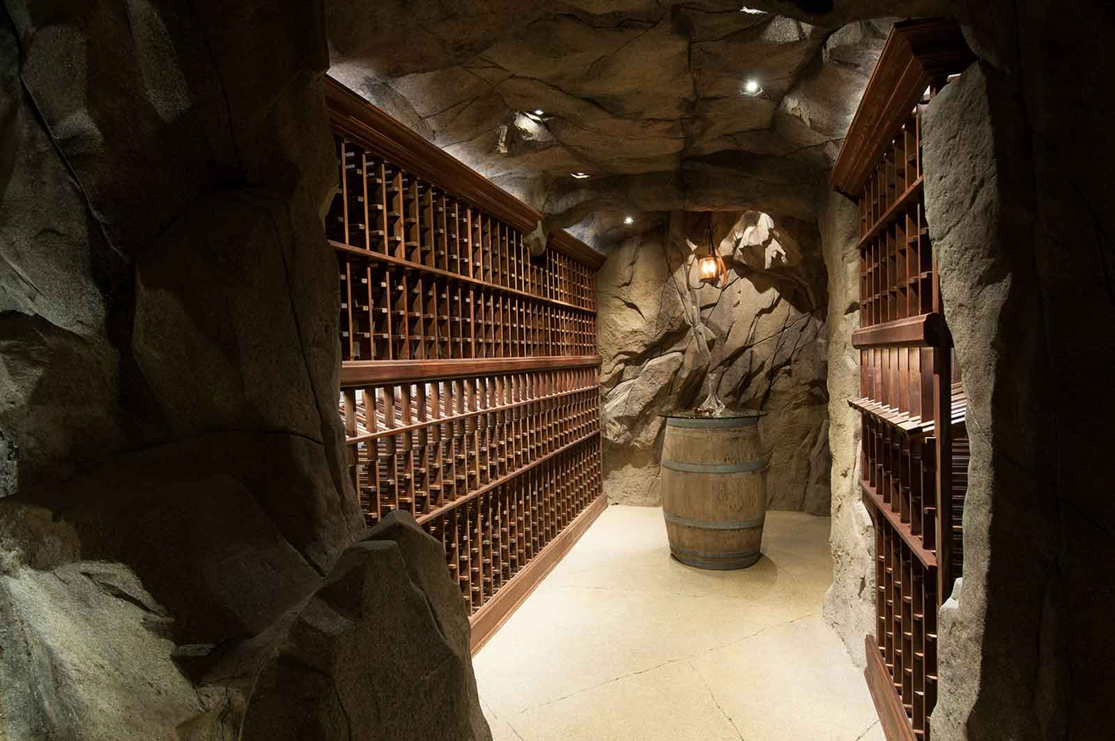 Spacious outdoor wine cave