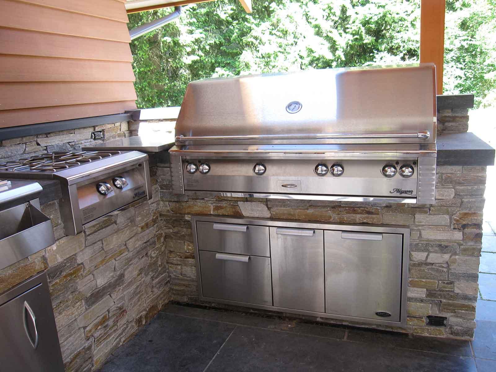 Luxury stainless steel outdoor kitchen