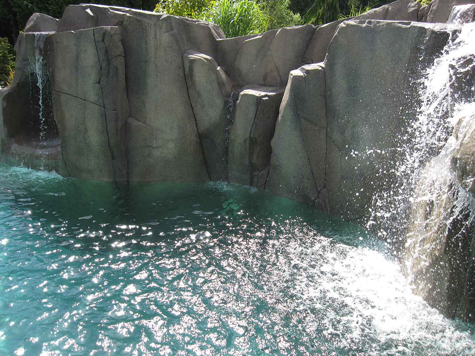 Natural looking rock water feature