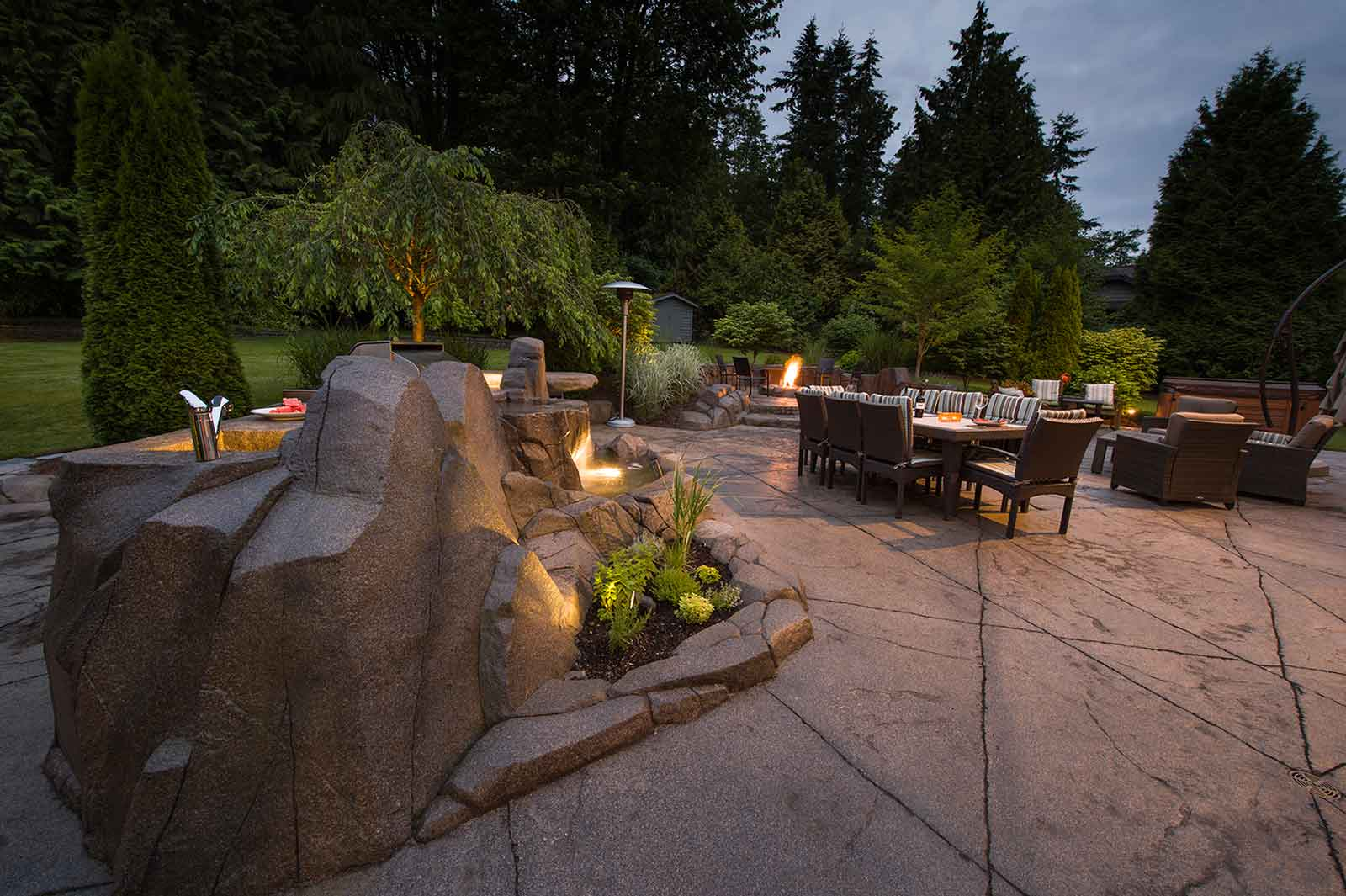 Night time outdoor living space