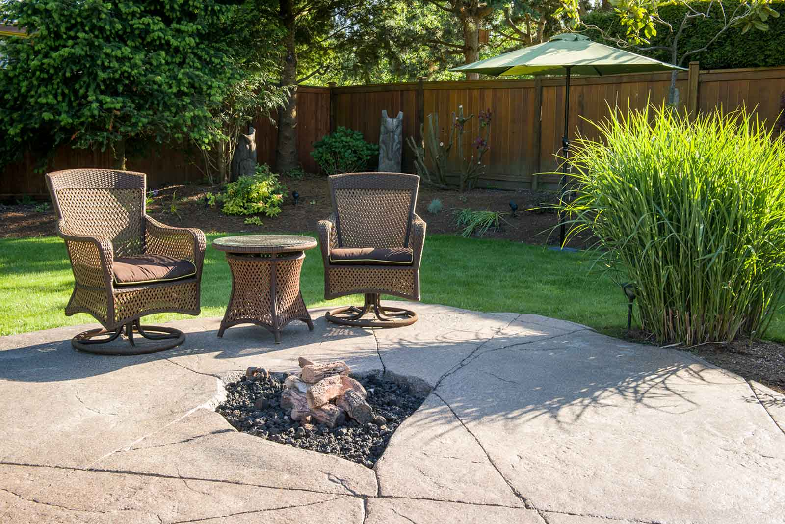 Custom designed in-ground fire pit