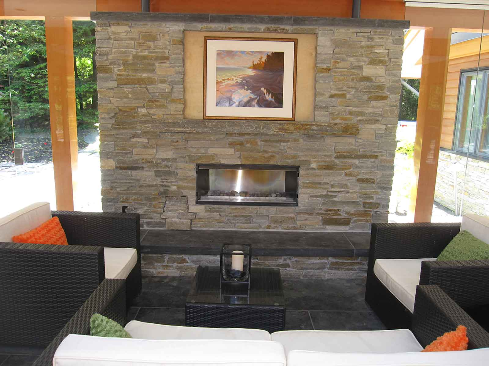 Custom built outdoor fireplace