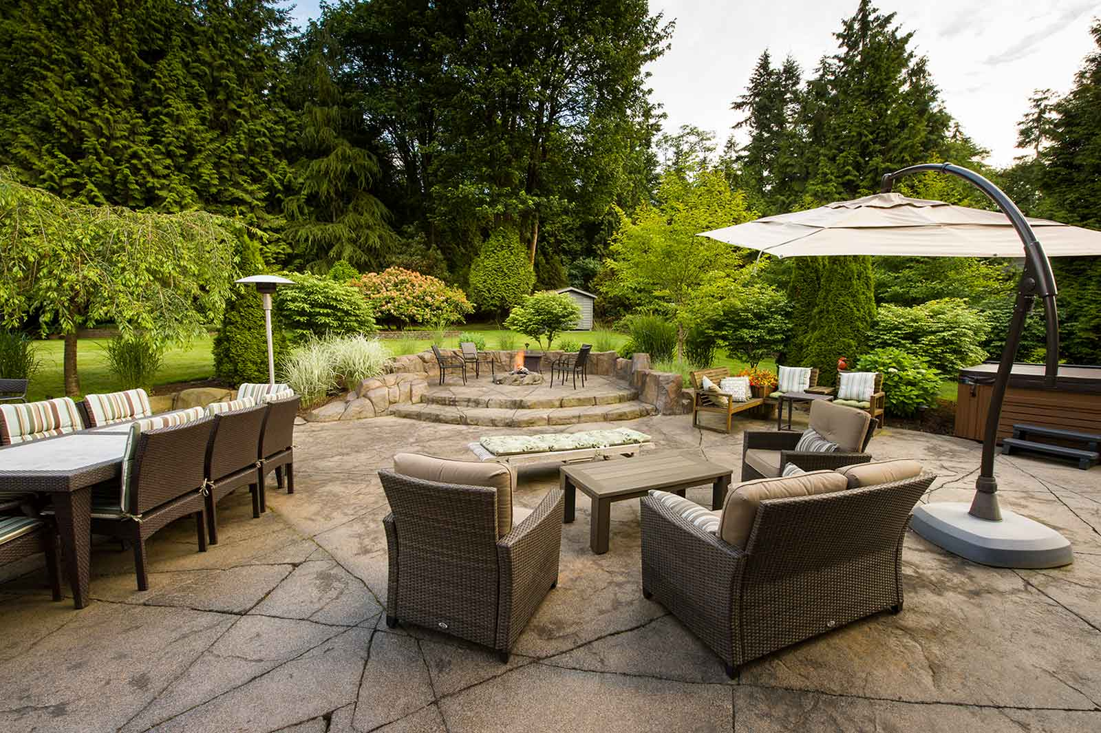 Backyard seating area for relaxing and entertaining