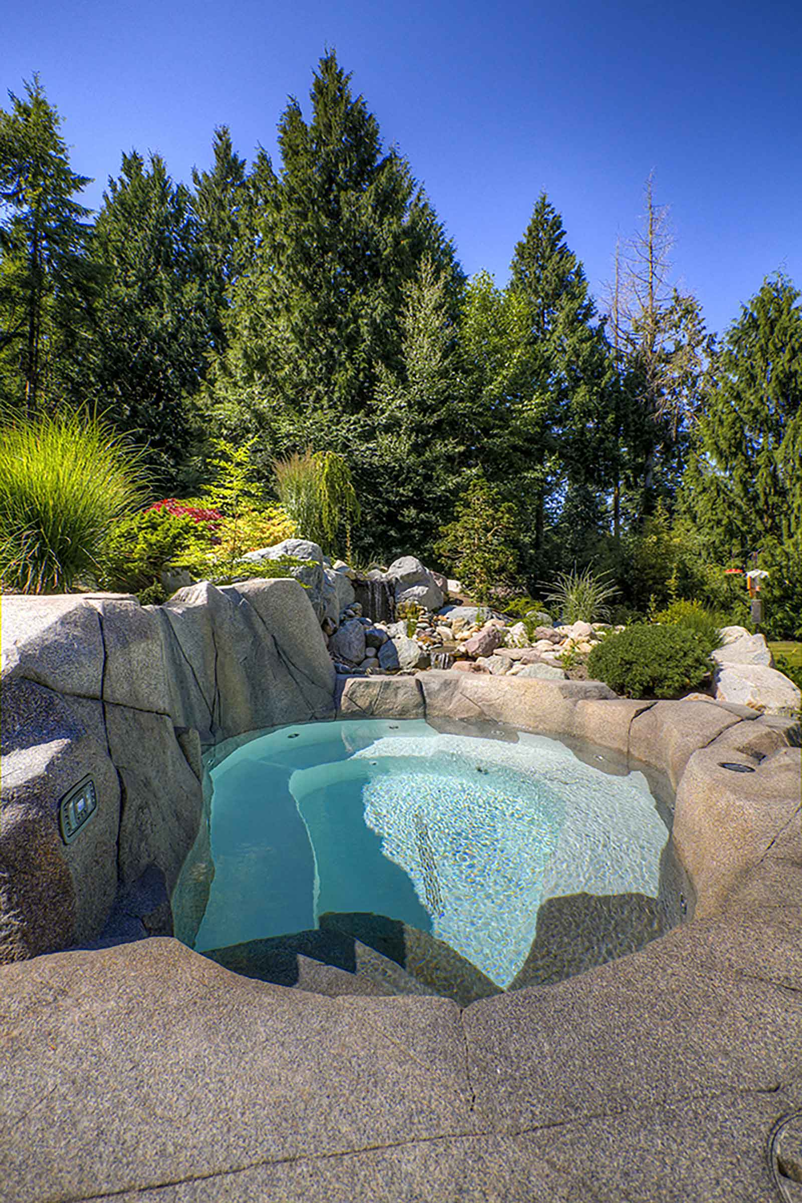 Private backyard hot tub
