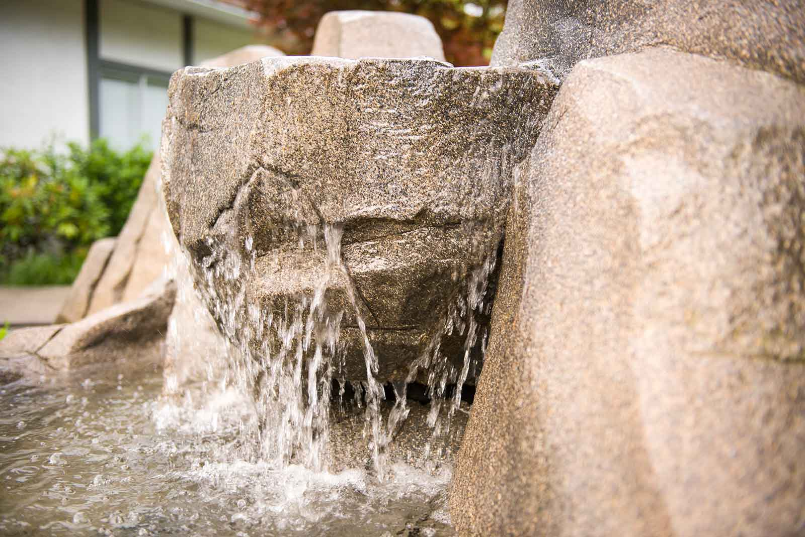 Artificial rock work waterfall feature