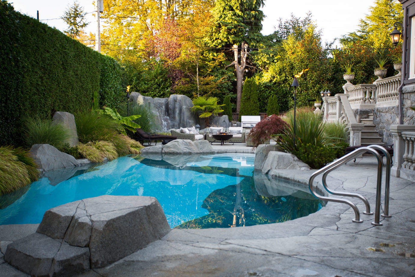 Backyard makeover with pool and concrete patio