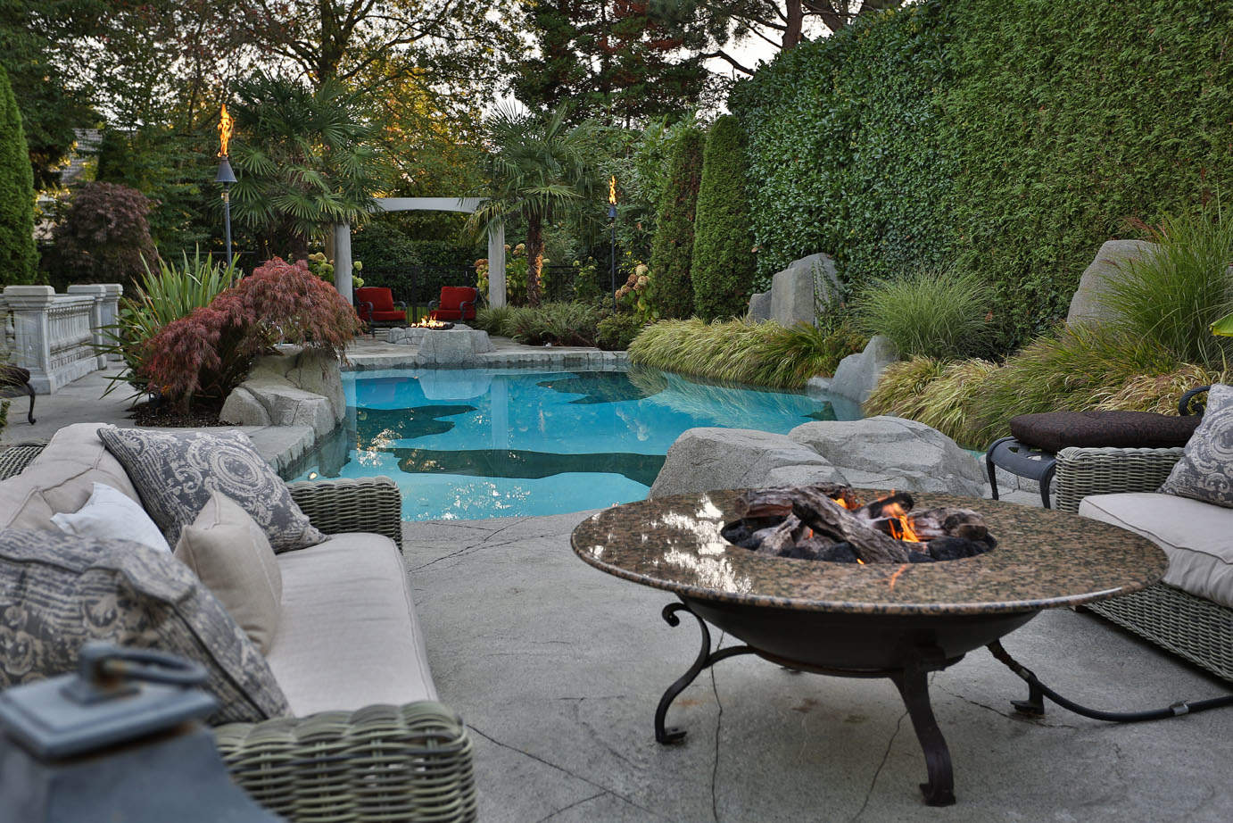 Beautiful backyard patio with fire feature