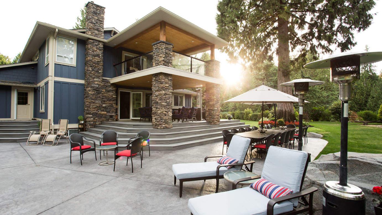 Backyard makeover with custom concrete patio