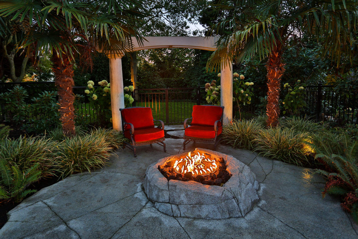 Custom designed artificial rock fire feature