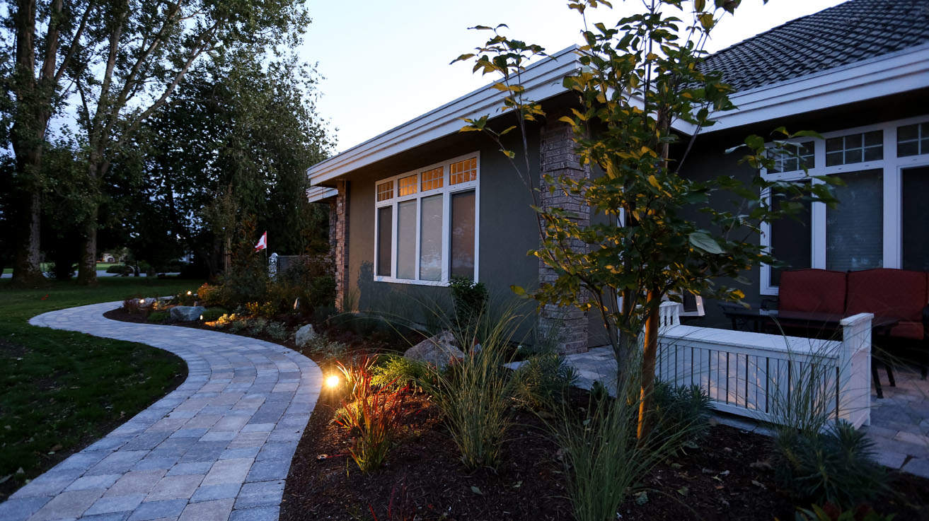 Lovely custom walkways and accent lighting
