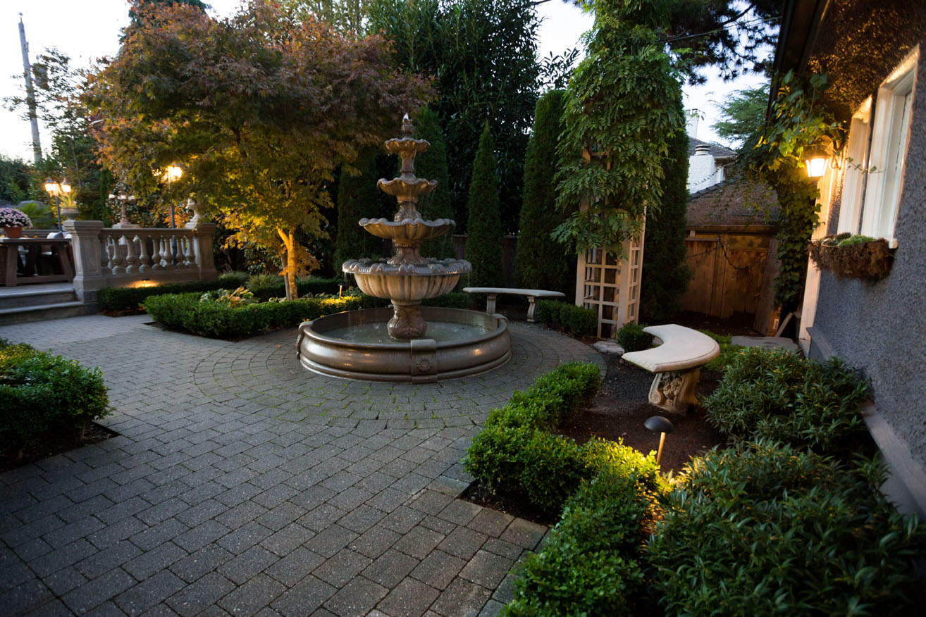 Elegant fountain and garden lighting